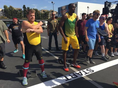 Watch James Corden Take On Usain Bolt In A 100 Metre Sprint