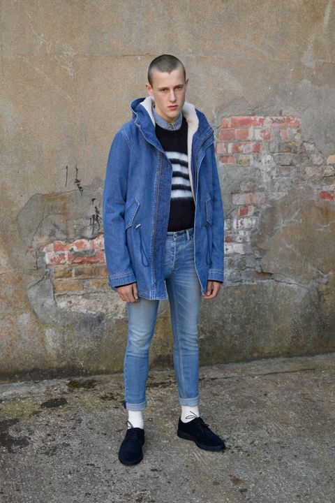 Clothing, Jacket, Sleeve, Denim, Trousers, Textile, Collar, Coat, Outerwear, Jeans,