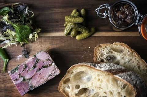 Game terrine served with pickled quince and sourdough at Cabotte wine bar and restaurant