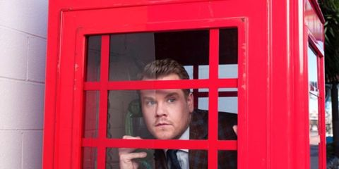 Telephone booth, Red, Standing, Window,