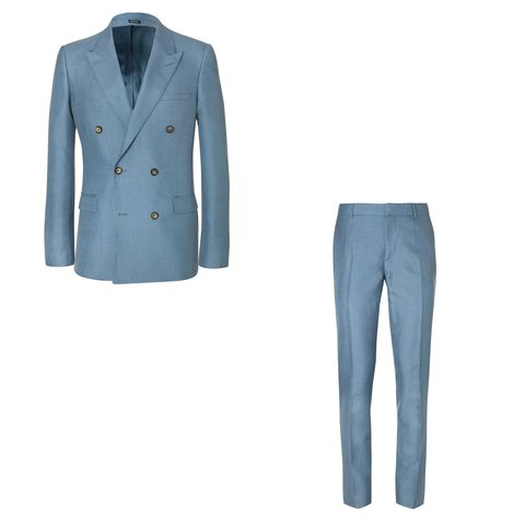 Clothing, Suit, Outerwear, Blue, Formal wear, Blazer, Turquoise, Jacket, Trousers, Jeans,