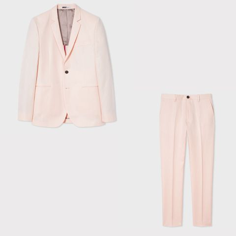 Clothing, White, Pink, Suit, Outerwear, Blazer, Formal wear, Jacket, Peach, Button,