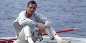Paul Newman on a boat