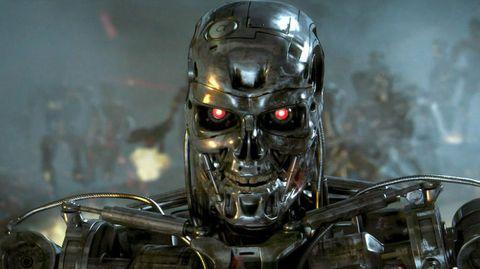 Robot, Fictional character, Action figure, Technology, Games, Skull, Helmet, Metal,