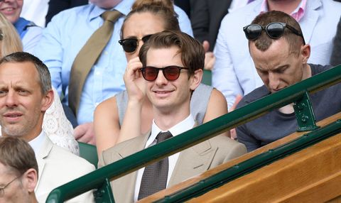 LONDON, ENGLAND - JULY 16:  Andrew Garfield attends day 13 of Wimbledon 2017 on July 16, 2017 in London, England.  (Photo by Karwai Tang/WireImage)