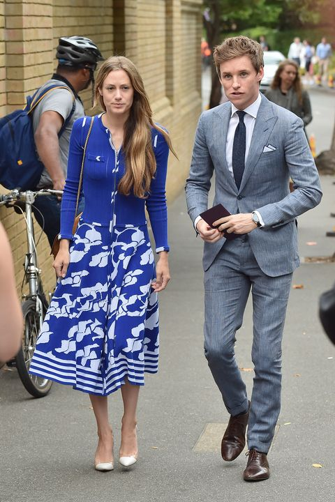 LONDON, ENGLAND - JULY 16:  Eddie Redmayne and Hannah Bagshawe seen arriving for day thirteen at The Championships at Wimbledon on July 16, 2017 in London, England.  (Photo by HGL/GC Images)