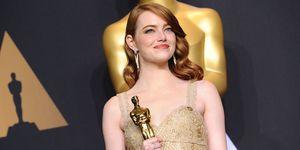 Emma Stone with academy award for La La Land