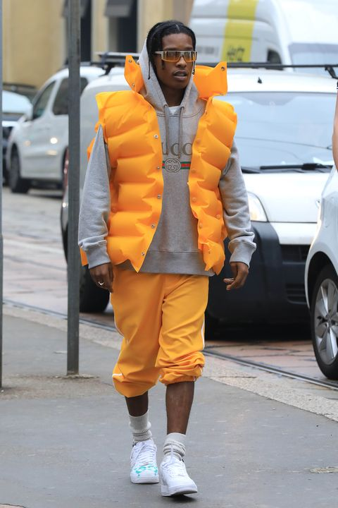 Orange, Street fashion, Yellow, Clothing, Fashion, Outerwear, Jacket, Footwear, Shoe, Street,