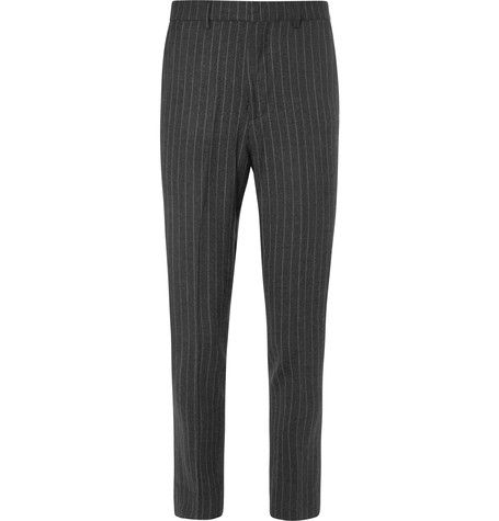 Enlist, Pinstriped Brushed Stretch Wool-Blend Trousers, £225, mrporter.com