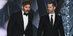 David Benioff (L) and D.B. Weiss accept the award for Outstanding Writing for a Drama Series for 'Game of Thrones' episode 'Battle of the Bastards' onstage during the 68th Annual Primetime Emmy Awards