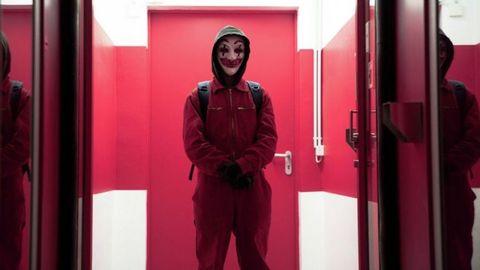 Red, Pink, Standing, Magenta, Outerwear, Room, Door, Photography, Interior design,