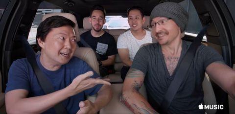 Linkin Park and Jen Jeong in Linkin Park Carpool Karaoke episode