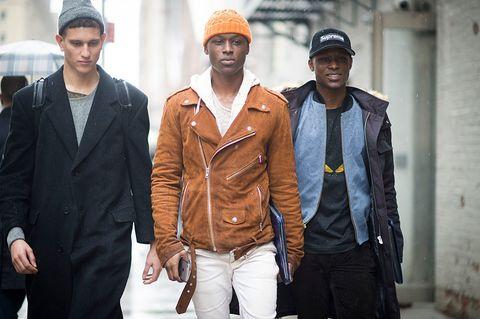 Fashion, Street fashion, Outerwear, Jacket, Cool, Headgear, Suit, Leather, Style, Fashion design,