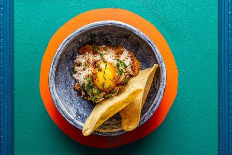 Crab and bone marrow nachos at Breddos tacos, Kingly Street