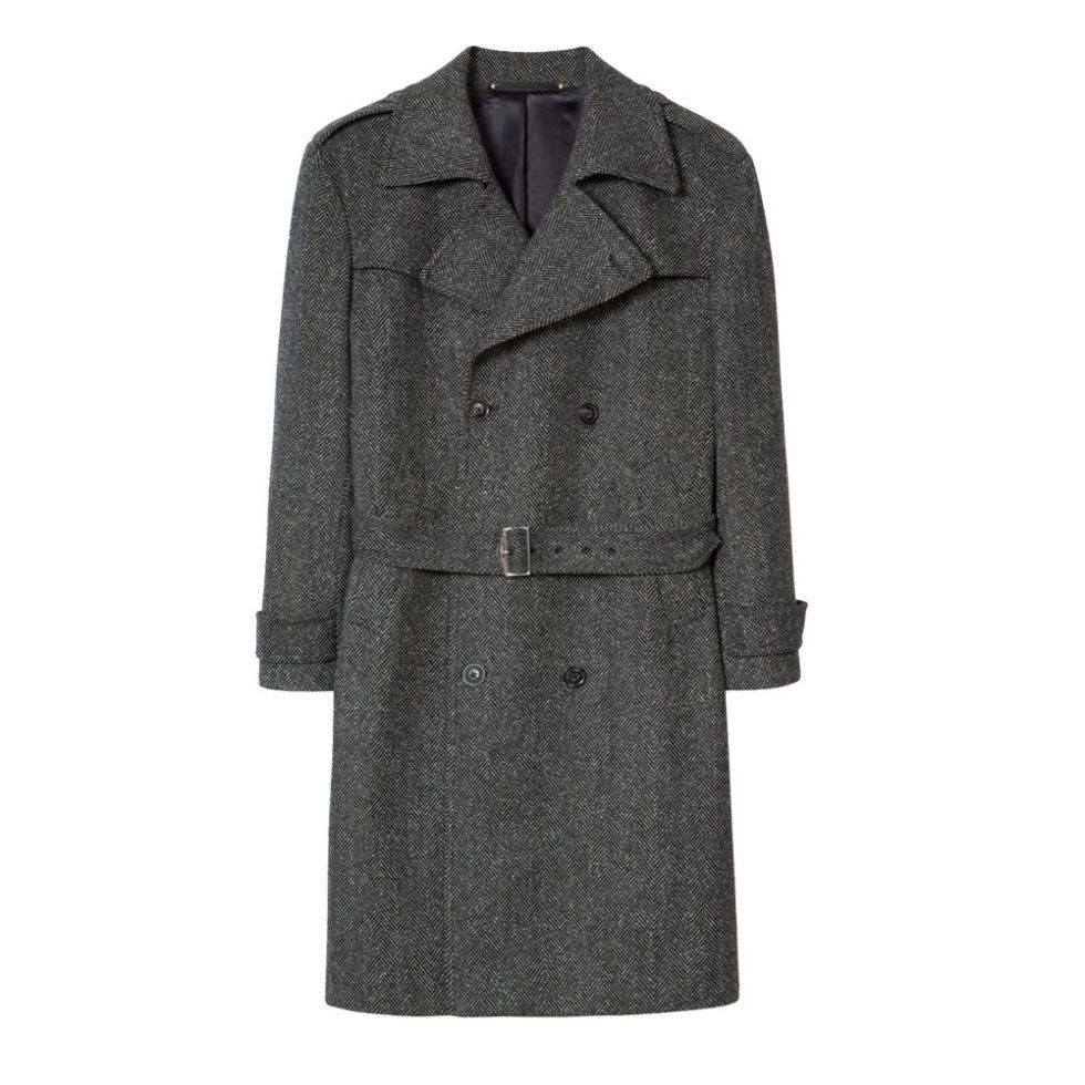Paul Smith Grey Herringbone Wool-Cashmere Double-Breasted Belted Overcoat,  £1,290, paulsmith.co.uk