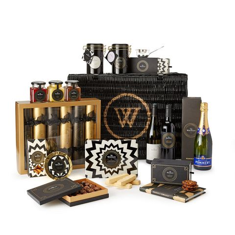 Product, Hamper, Liqueur, Distilled beverage, Home accessories, Drink, Whisky, Bottle, Metal,