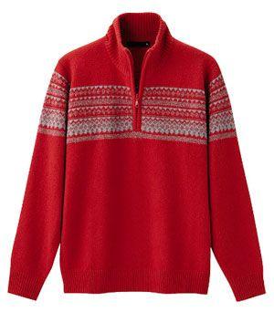 uniqlo_half_zip_orange_sweater