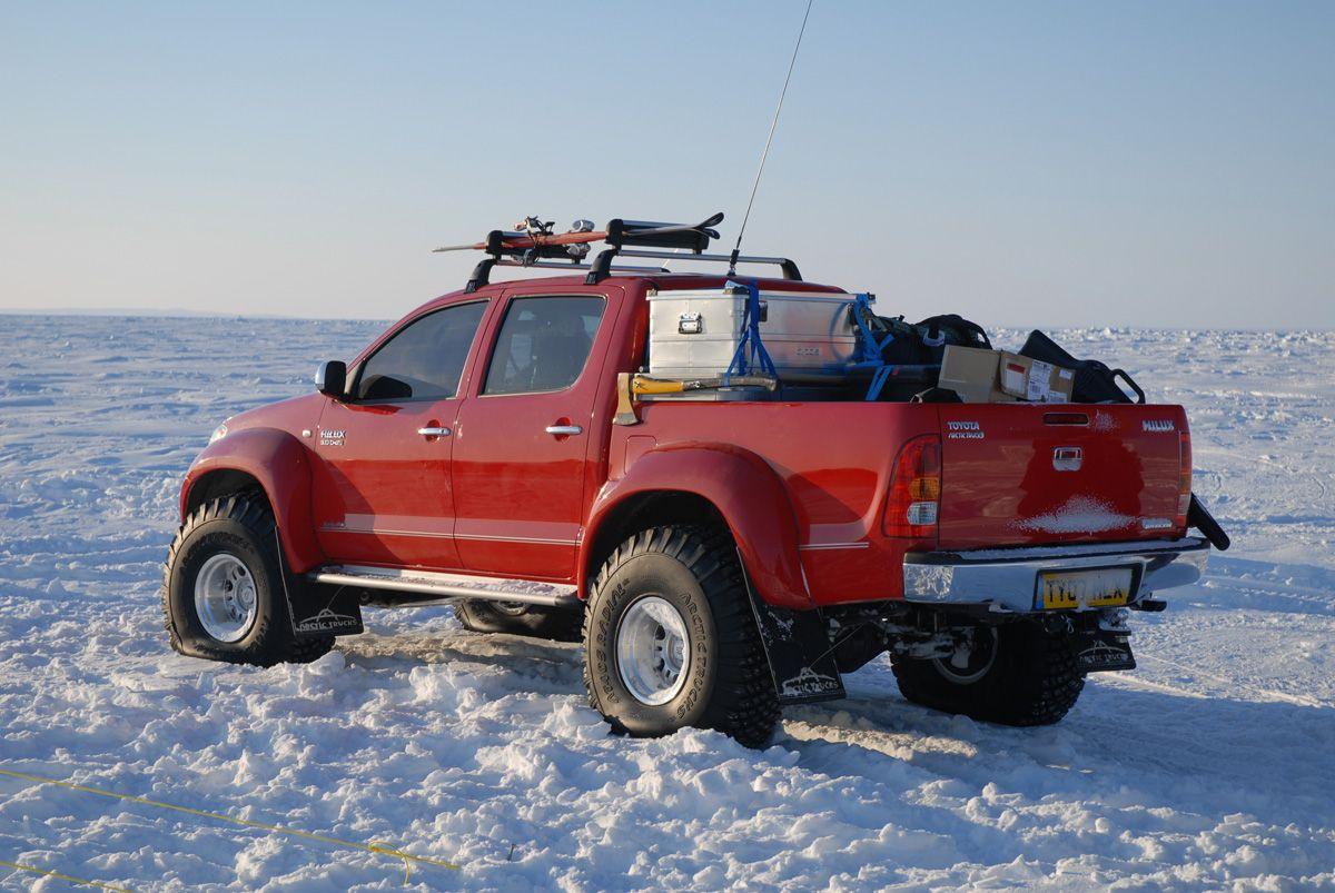 Top gear polar challenge in a toyota hilux tacoma to u s readers 50 mm suspension lift 38 inch snow studded tires 180 liter diesel fuel tank
