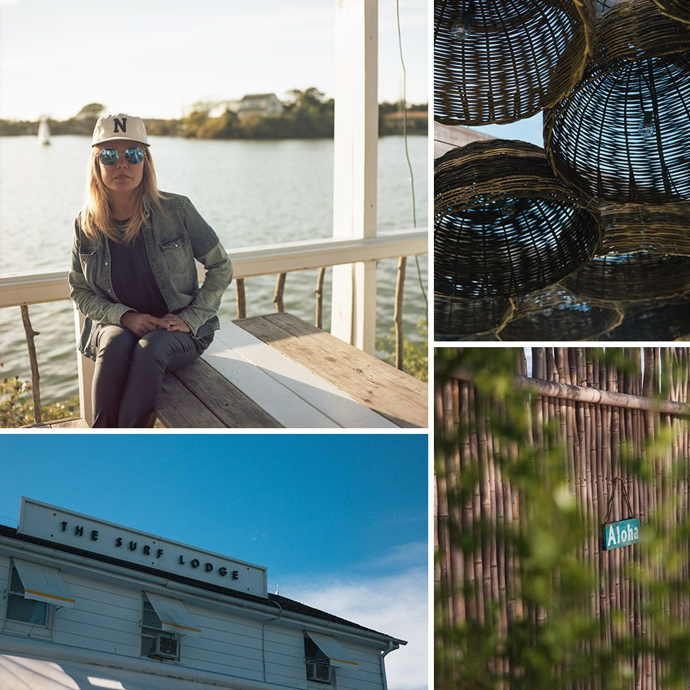 Clockwise from Top Left: Nil ___; Baskets in Montauk; Aloha; The Surf Lodge at ____
