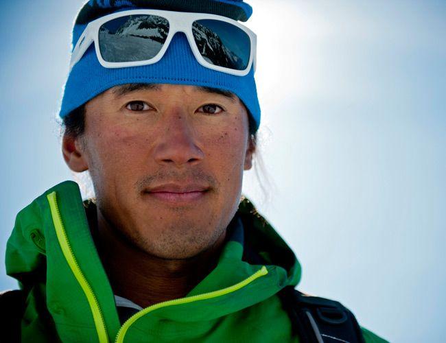 Jimmy Chin skiing in Chamonix, France.