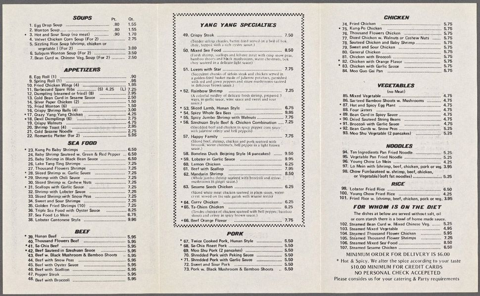 1984: There's something very calming about how little about the New York City Chinese food menu has changed over 30 years.