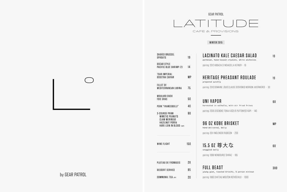"An overzealous interpretation of the contemporary menu at the (hypothetical) Gear Patrol hashery, ""Latitude""."