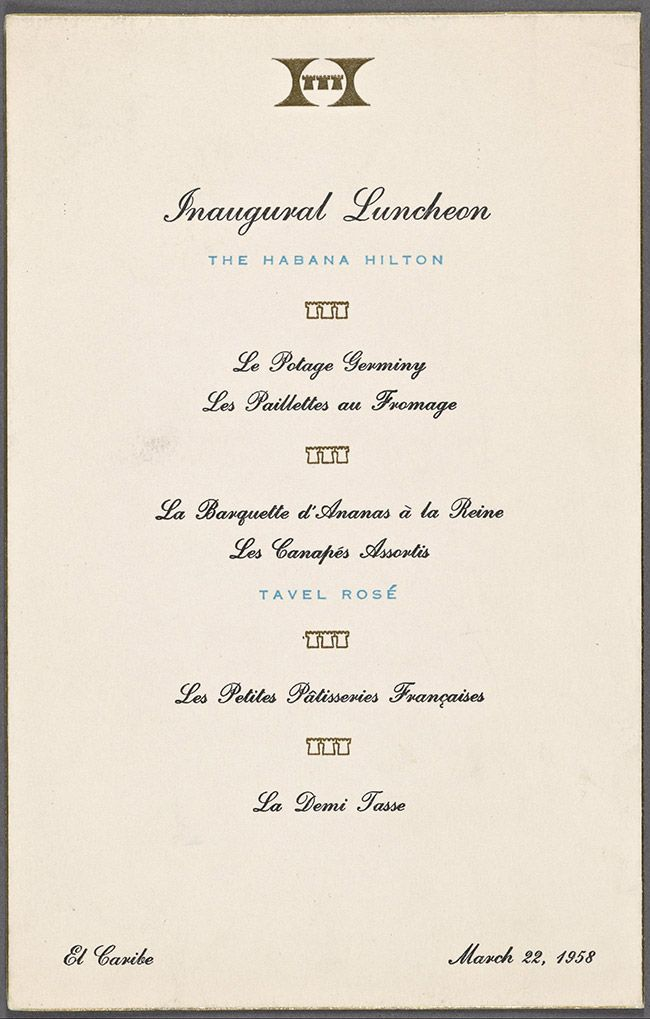 1958: American hotel chain, spanish speaking island, a French menu and a poorly timed hotel opening.