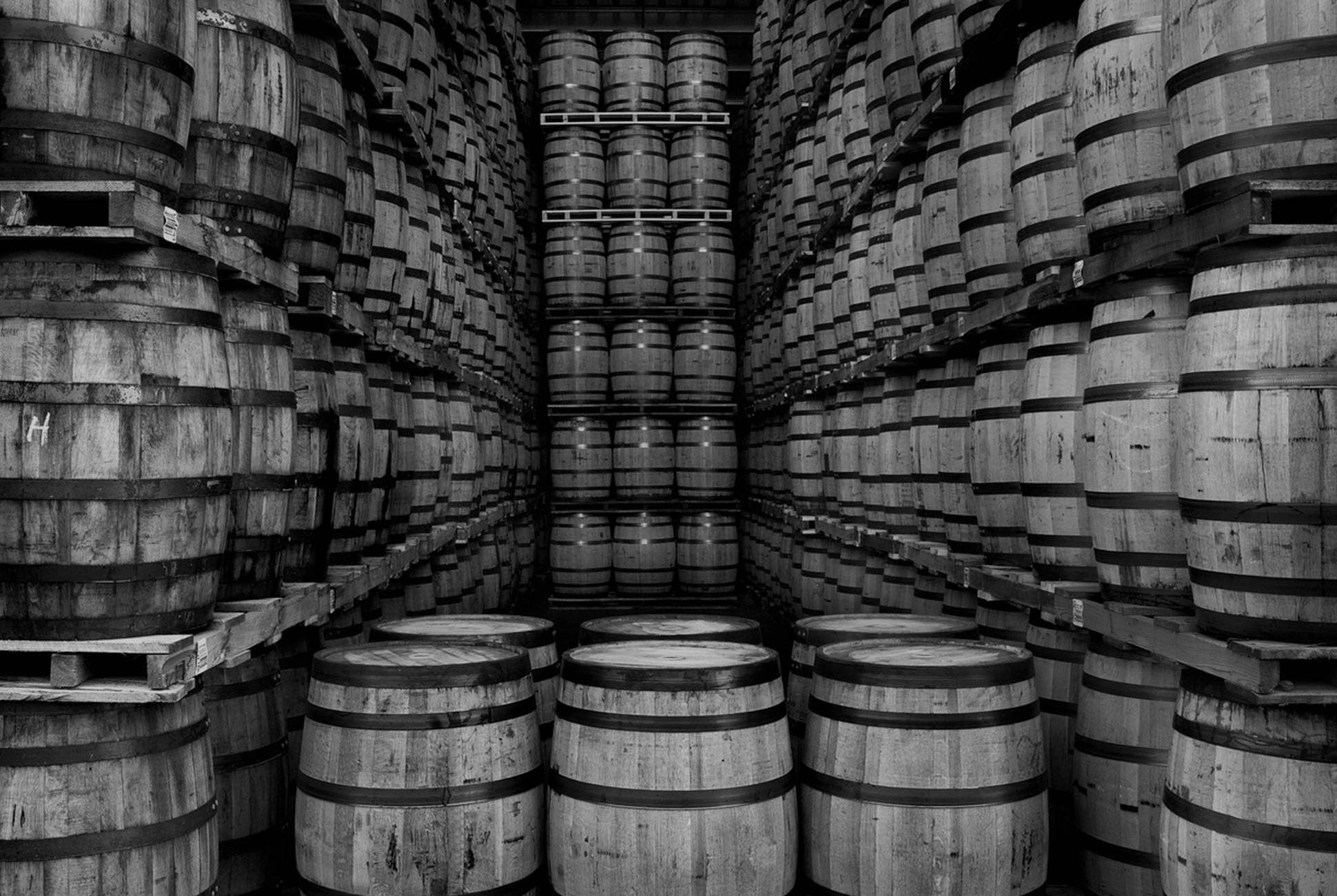 Storing barrels at the Canadian Club Distillery. Photo courtesy Canadian Club.
