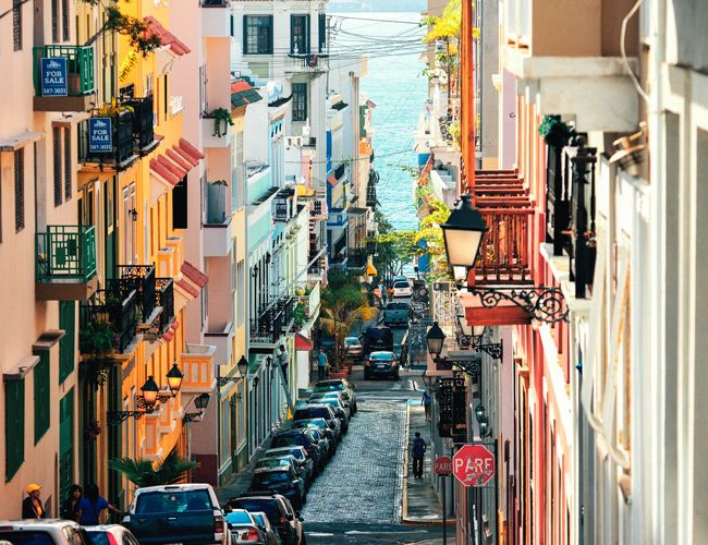 SAN JUAN, PUERTO RICO - JAN 7: Old street in downtown on January
