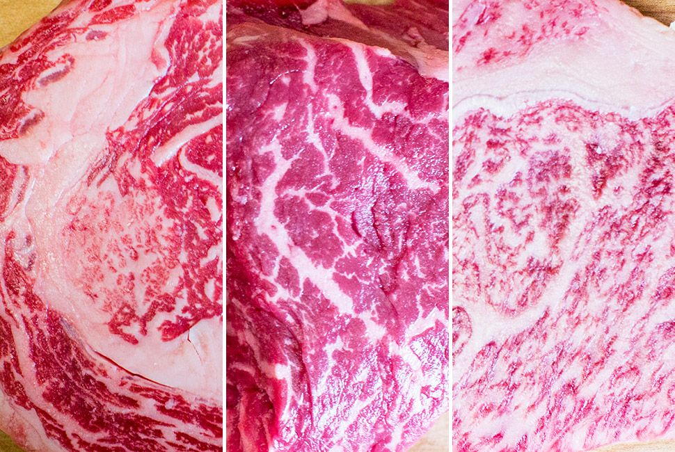 From left to right: American, Australian and Japanese Wagyu