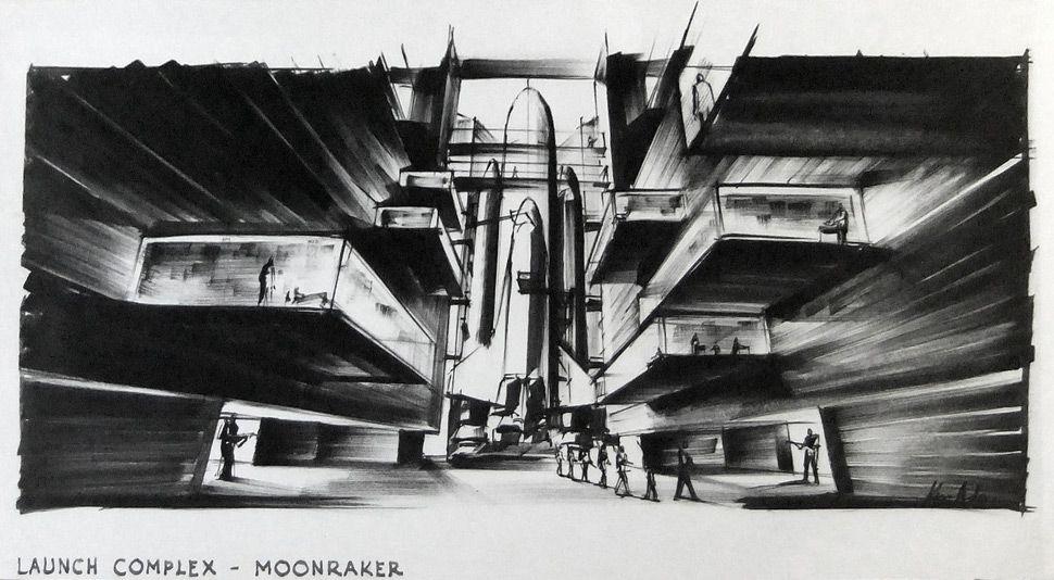 """Entwurf """"Launch Complex"""" zu JAMES BOND 007 – MOONRAKER (Moonraker – Streng geheim) GB/F 1979, Regie: Lewis Gilbert Entwurf: Ken Adam"""