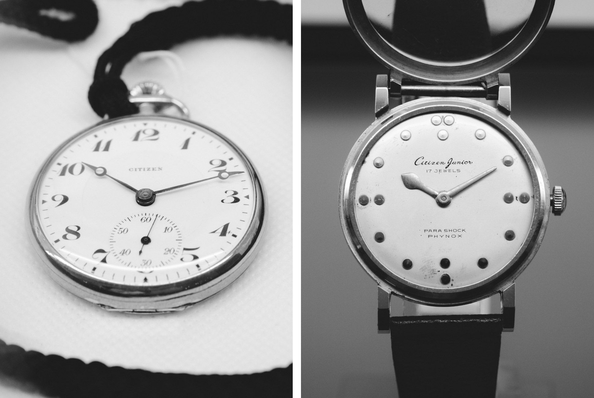 Left: A Citizen Pocketwatch from 1924; Right: 1960s Citizen Home Para Shock Phynox.