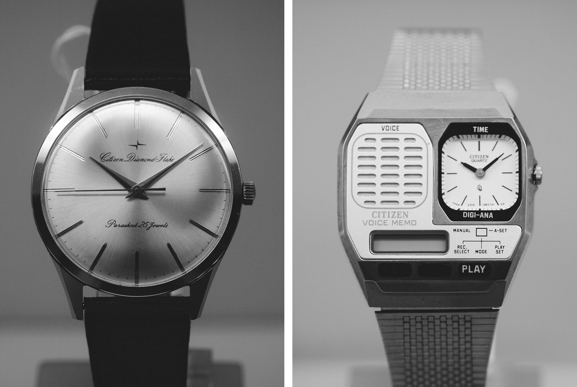 Left: 1960s stainless-steel, manual-wind Citizen Diamond Flake Parshock, 36mm; Right: 1980s Citizen Voice Memo
