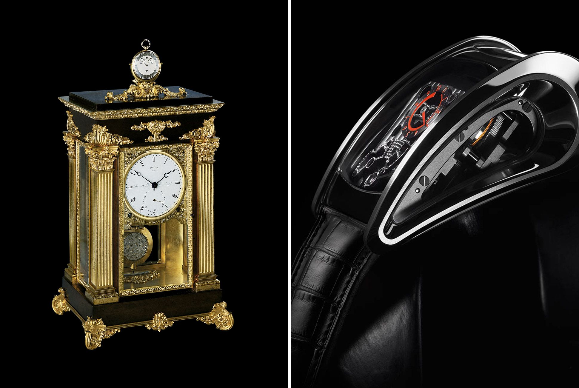 """Two of Parmigiani's most interesting (and contrasting pieces): his restoration of a Breguet """"sympathetic"""" clock (a pocket watch that docks and synchronizes to a pendulum clock) and the avant-garde piece created in collaboration with Bugatti."""