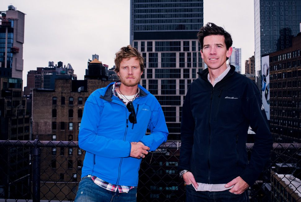 Richards and Ballinger atop GP offices a week after returning from Everest. Elevation: 168 feet above sea level. (Photo: Henry Phillips)