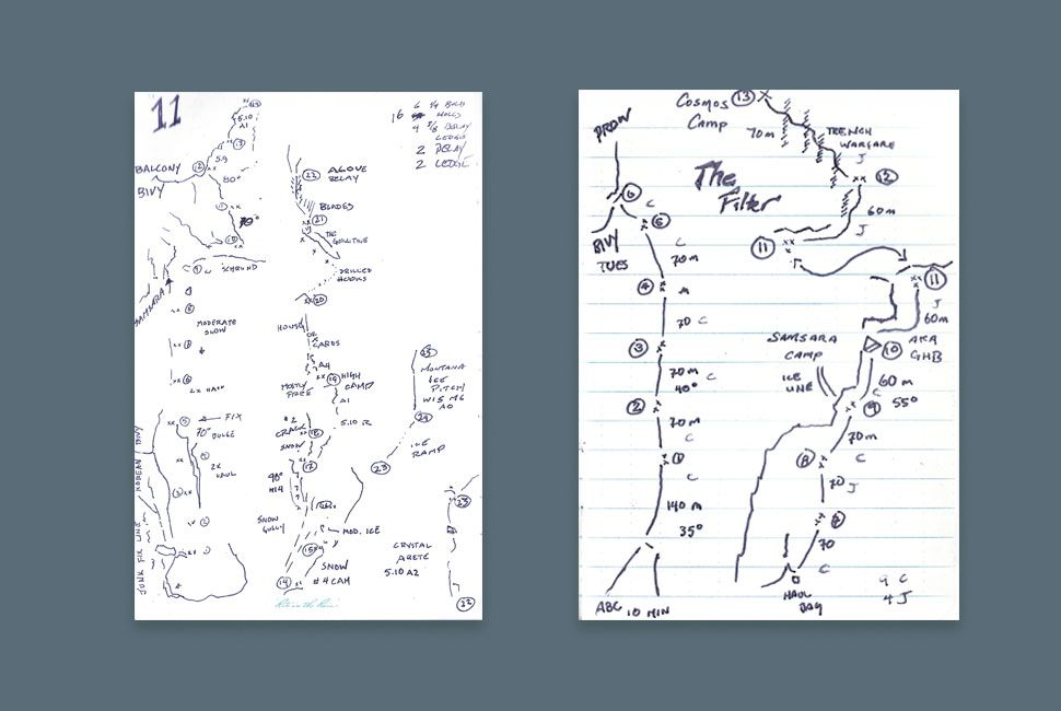 Above are two climbs from Anker's journal: the one on the left is a pitch from his Cerro Torre climb, the other is his historic first ascent of the Shark's Fin on Mt. Meru.