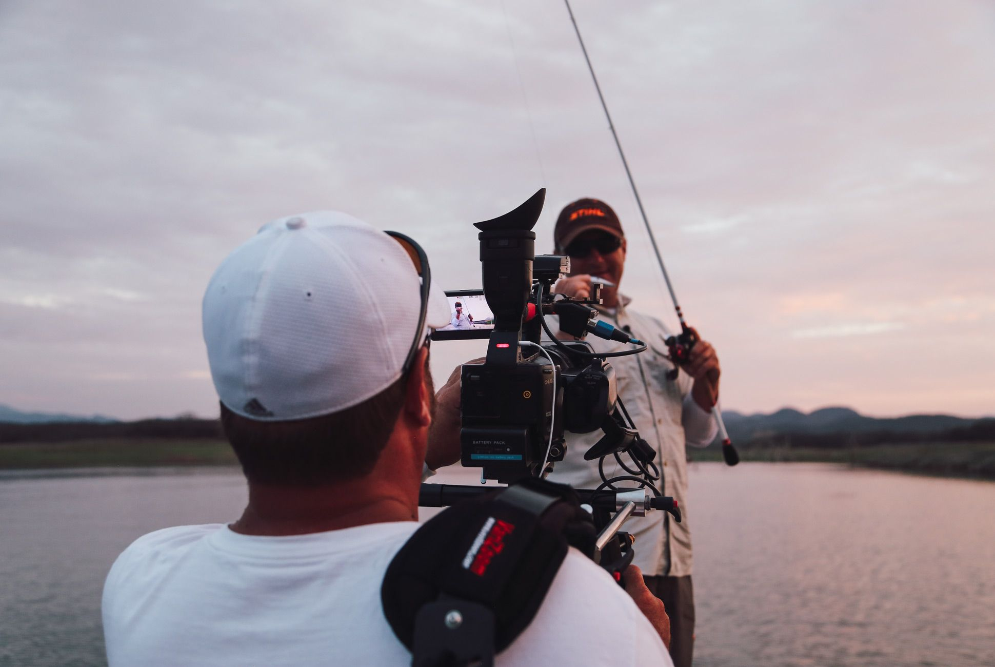 Producer, editor and cameraman Jim Kramer is constantly behind host Joe Thomas as he fishes, stalking the scene with his surprisingly small Sony XD camera on a shoulder mount.