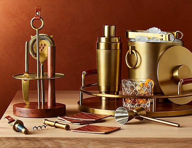 Frye Teams Up with Crate&Barrel for a Home Bar Collection Full of Leather and Brass