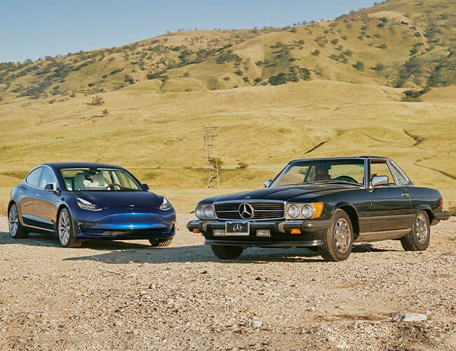 Past Meets Present With a Tesla, a Vintage Mercedes-Benz and California