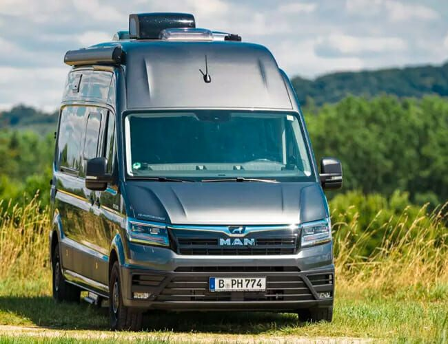 This 4-Wheel-Drive Camper Van Is a Luxurious, Motorcycle-Hauling Land Yacht