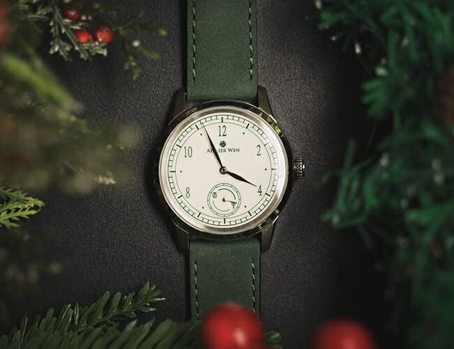 This Affordable Automatic Watch Features a Festive Green-and-White Porcelain Dial