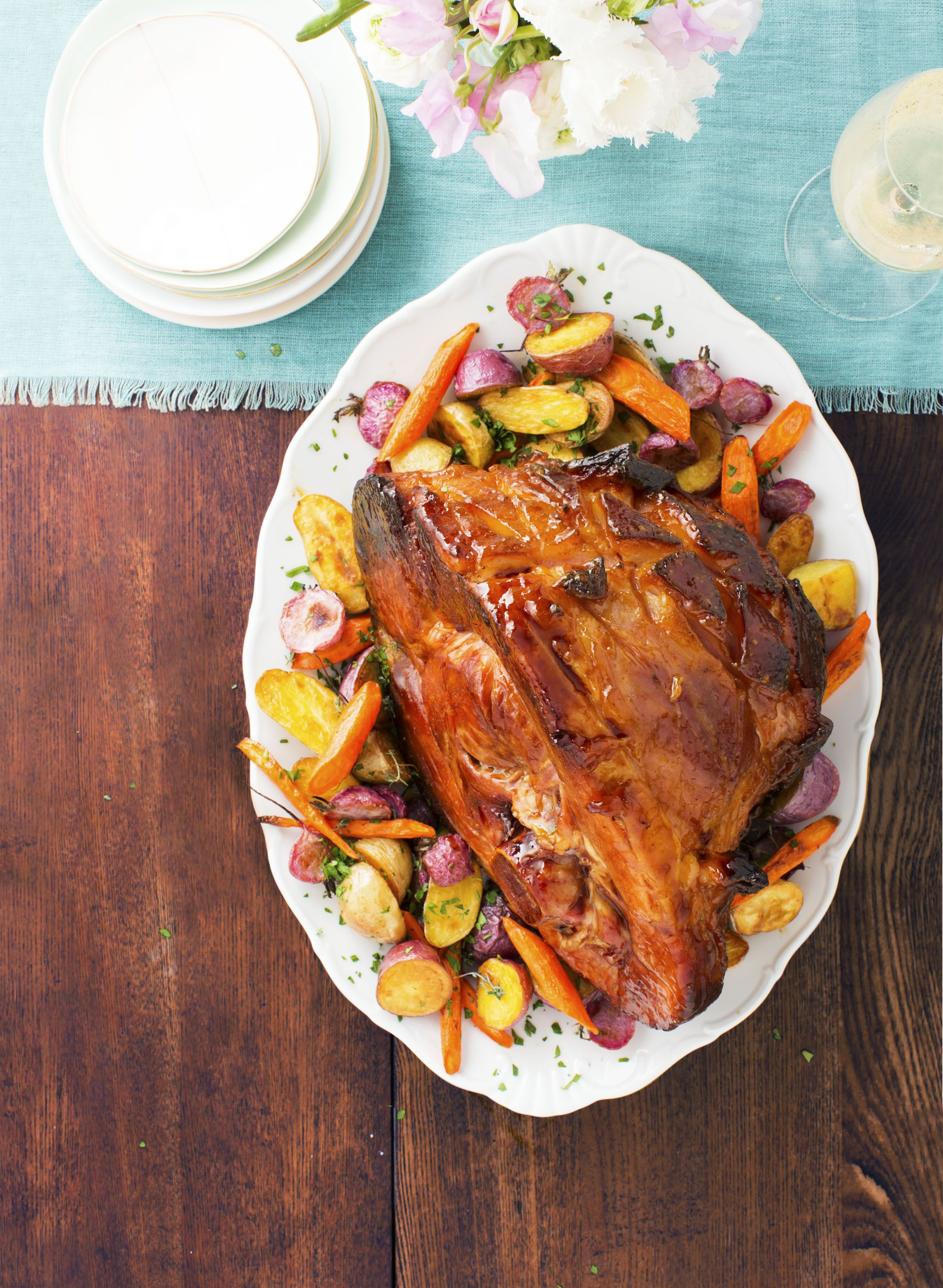 APRICOT MUSTARD HAM WITH HERB ROASTED ROOT VEGETABLES