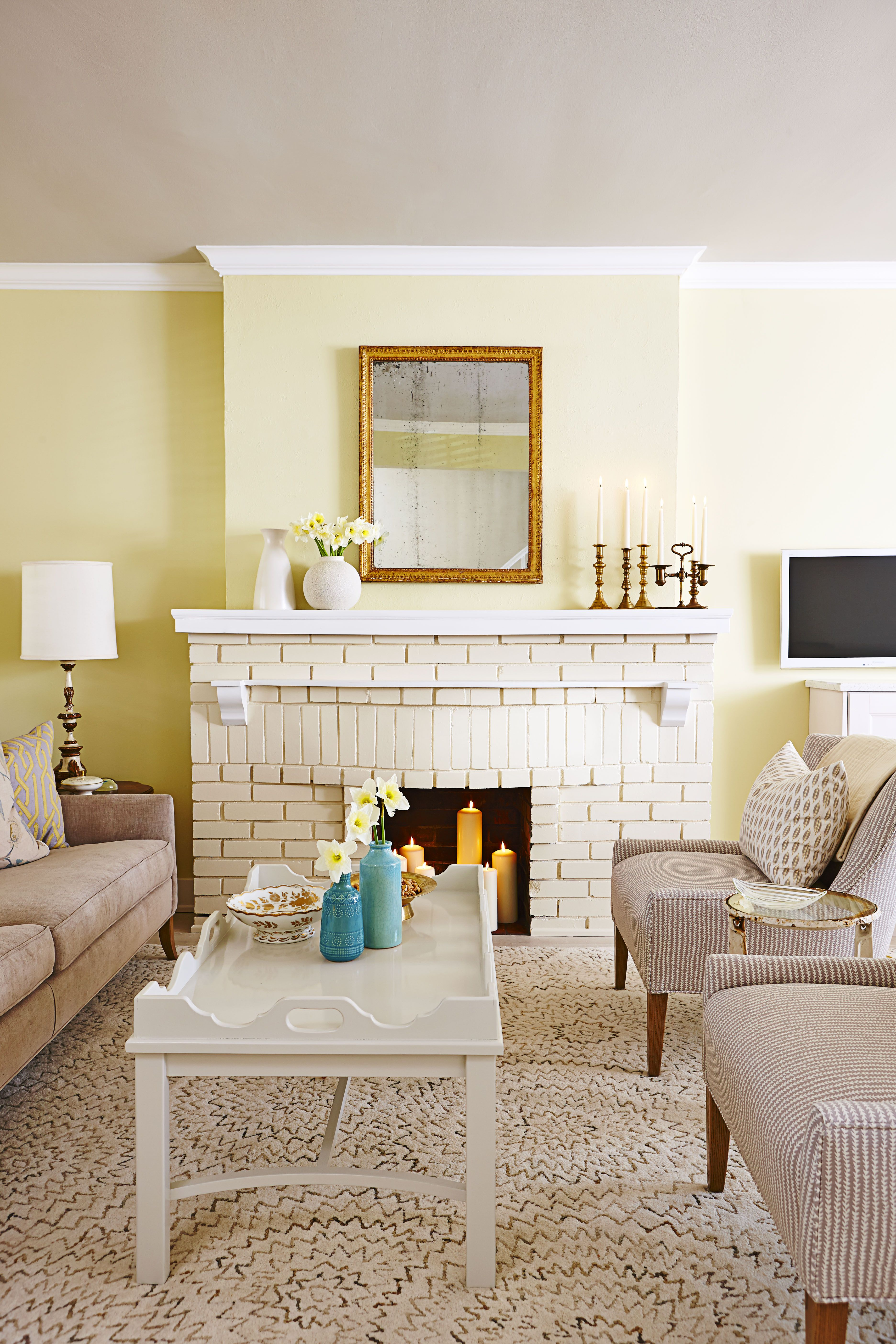 Sunny Painted Brick Fireplace & 18 Fireplace Decorating Ideas - Best Fireplace Design Inspiration