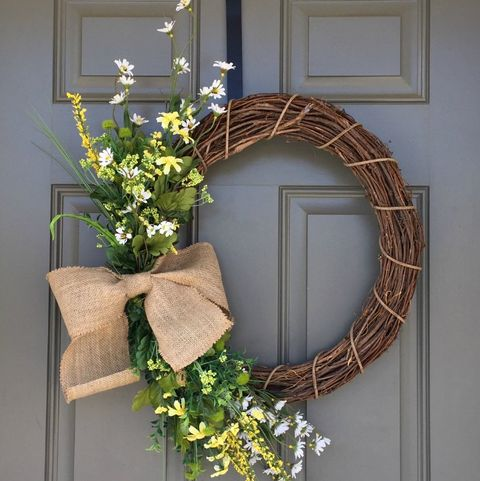Spring Wreaths - Floral and Burlap Wreath
