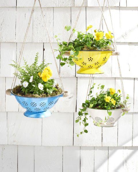hanging colander planters
