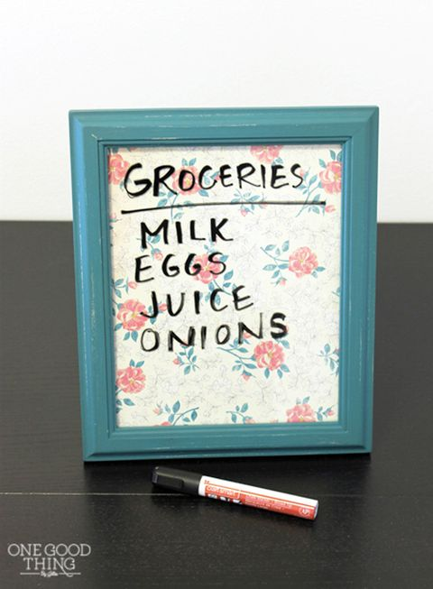 "Make yourself (or a friend) an adorable dry erase board that can be used for anything from to-do lists to family reminders. (Earth-friendly bonus: You'll save a lot of paper.)  <em>Get the tutorial at <a target=""_blank"" href=""http://www.onegoodthingbyjillee.com/2014/01/save-paper-with-these-simple-diy-erasable-boards.html"">One Good Thing By Jillee</a>.</em>"