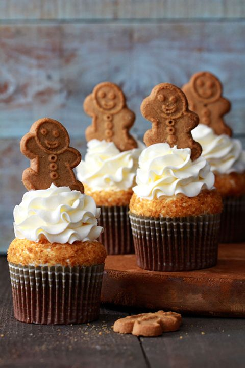 """A sweet and spicy cake topped with a smooth, lemony cream cheese frosting makes for the perfect pair.   <strong>Get the recipe from <a href=""""http://www.bakersroyale.com/cupcakes/gingerbread-latte-cupcakes/"""">Bakers Royale</a>.</strong>"""