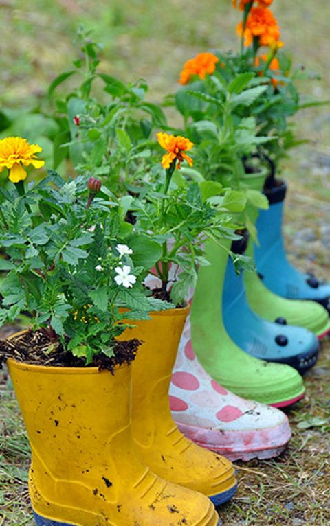 "Have your kids outgrown their rain boots? Don't throw them out — put them to good use by filling them to the brim with some soil and your favorite flowers.  <em>Get the tutorial at <a target=""_blank"" href=""http://rosinahuber.blogspot.com/2010/06/planting-flower-boots.html"">Rosy Posy</a>.</em>"