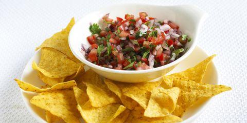 Food, Totopo, Yellow, Cuisine, Tortilla chip, Dish, Tableware, Corn chip, Light, Ingredient,