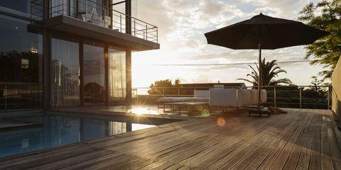 Wood, Hardwood, Real estate, Wood flooring, Sunlight, Shade, Deck, Laminate flooring, Wood stain, Reflection,